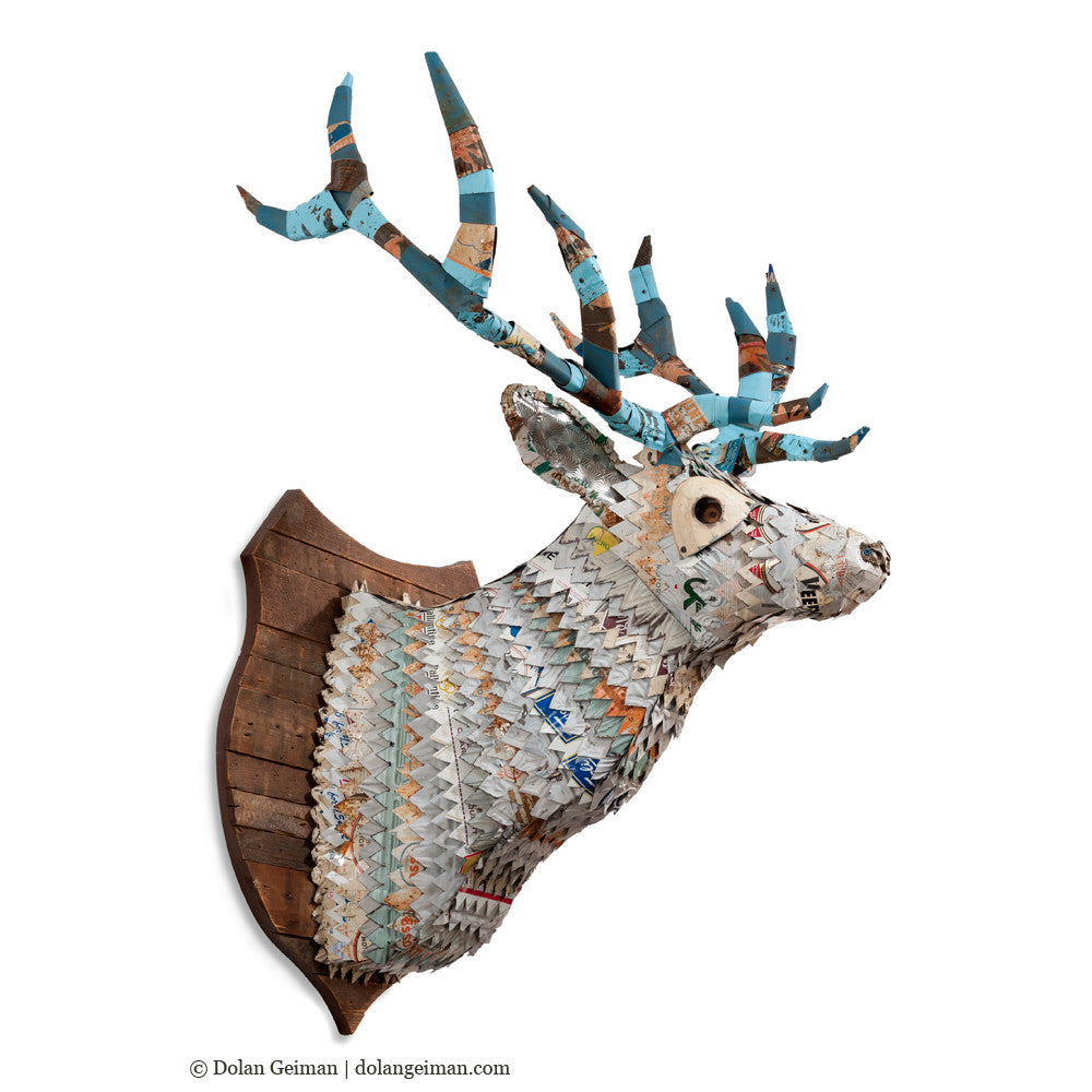 Great Plains White Stag Faux Taxidermy Metal Wall Sculpture
