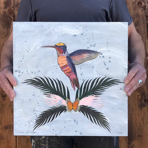 thumbnail for Small Works Event - Hummingbird on Grey - Original by Dolan Geiman