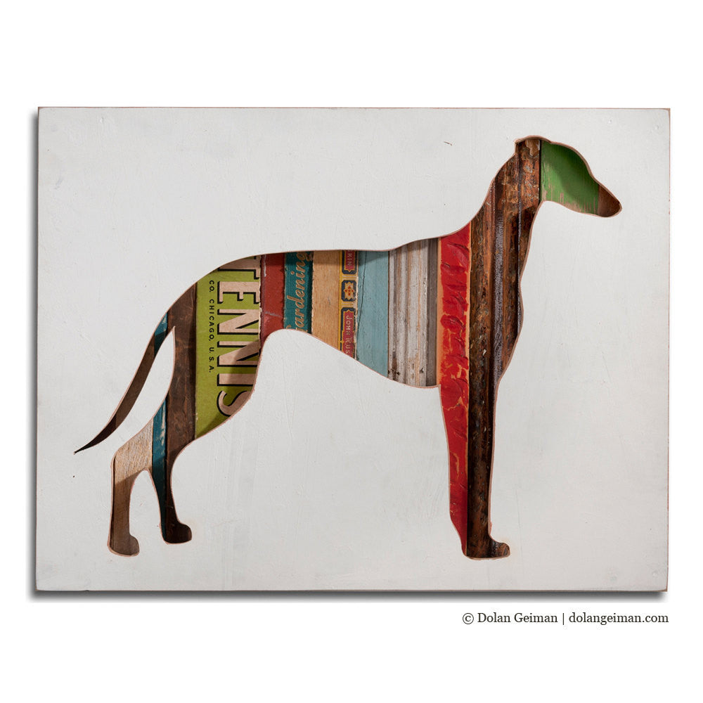 Greyhound Whippet Silhouette Custom Dog Portrait