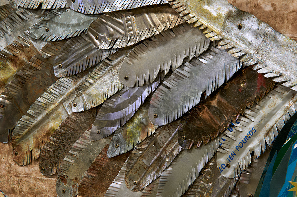 Guadalupe Rising Original Paper Collage with Salvaged Metal Wings