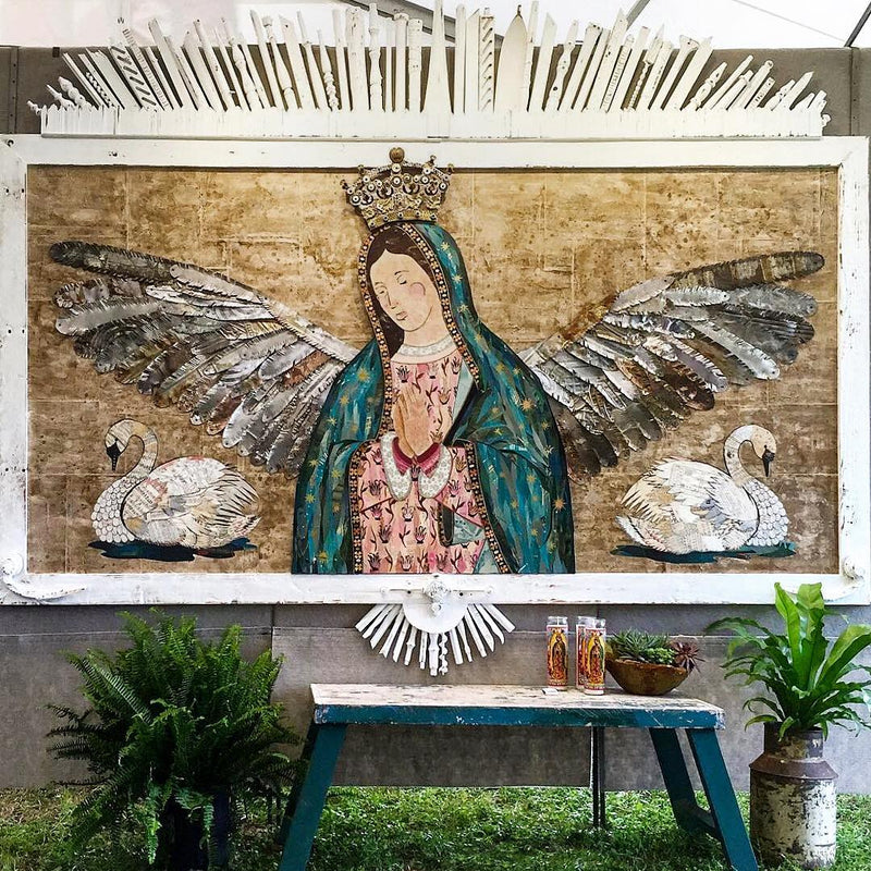 main image for Guadalupe Rising Original Paper Collage with Salvaged Metal Wings
