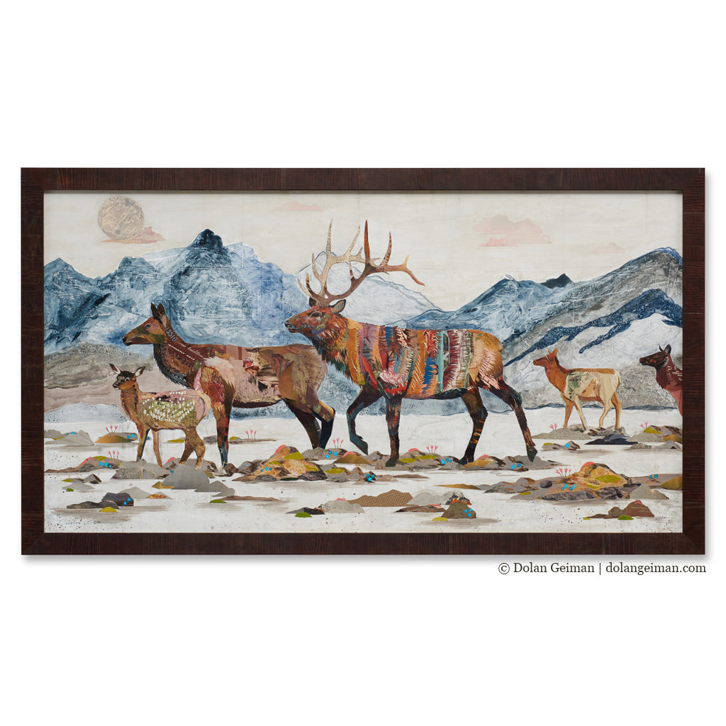 Headed Home Elk Herd Original Paper Collage