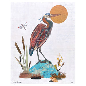 thumbnail for Great Blue Heron Original Paper Collage