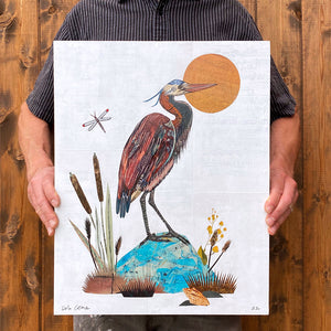 thumbnail for Small Works Event - Great Blue Heron Original Paper Collage