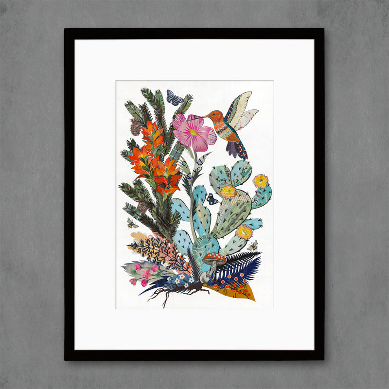 main image for Hummingbird with Cactus Art Print