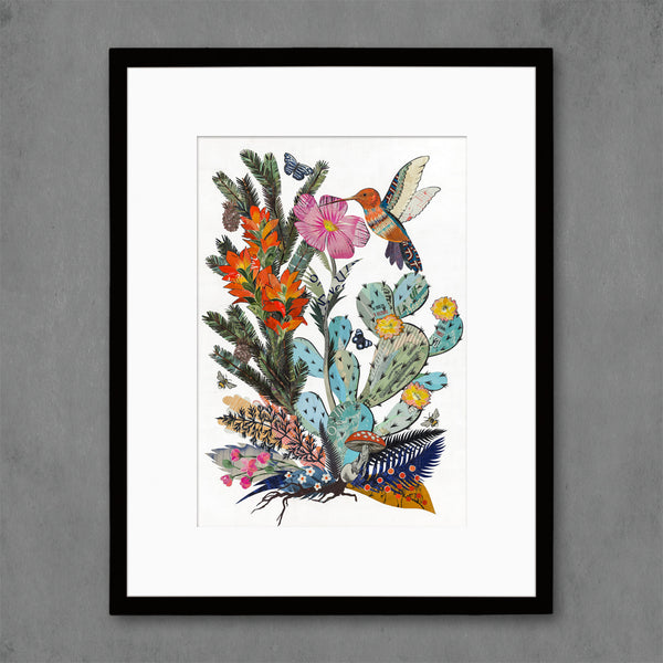 Hummingbird with Cactus Art Print