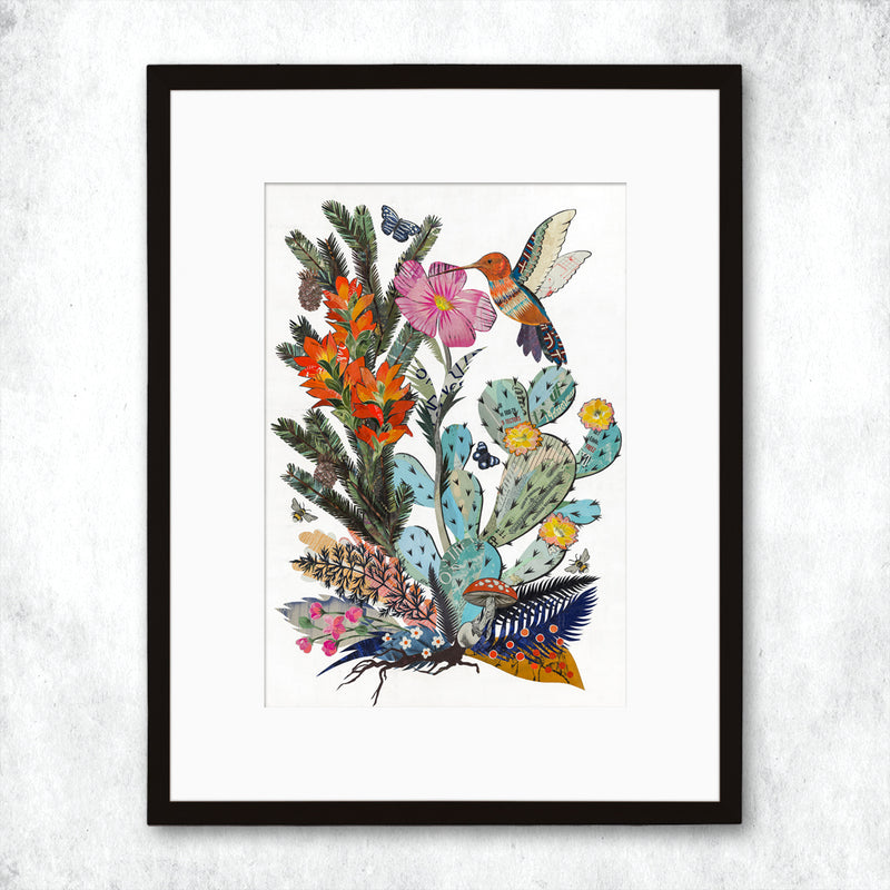 main image for WHSL - Hummingbird with Cactus Art Print
