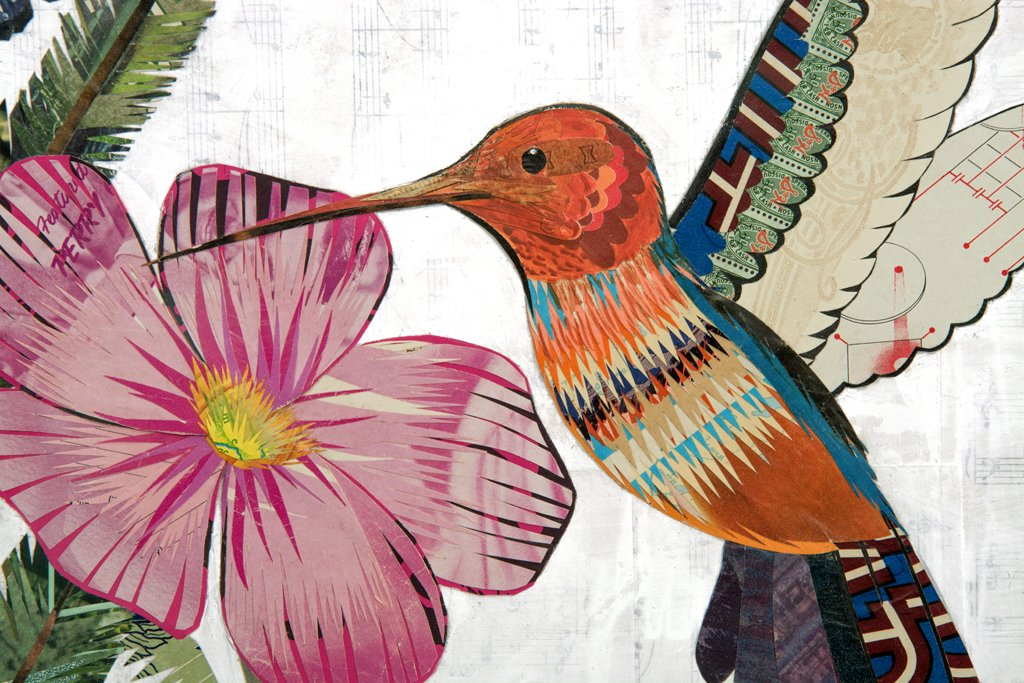 Hummingbird with Cactus Original Paper Collage