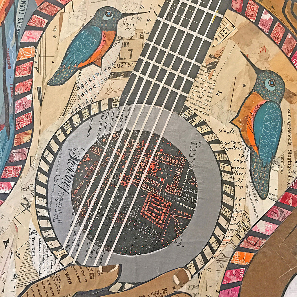 hummingbird  day of the dead woman with guitar collage