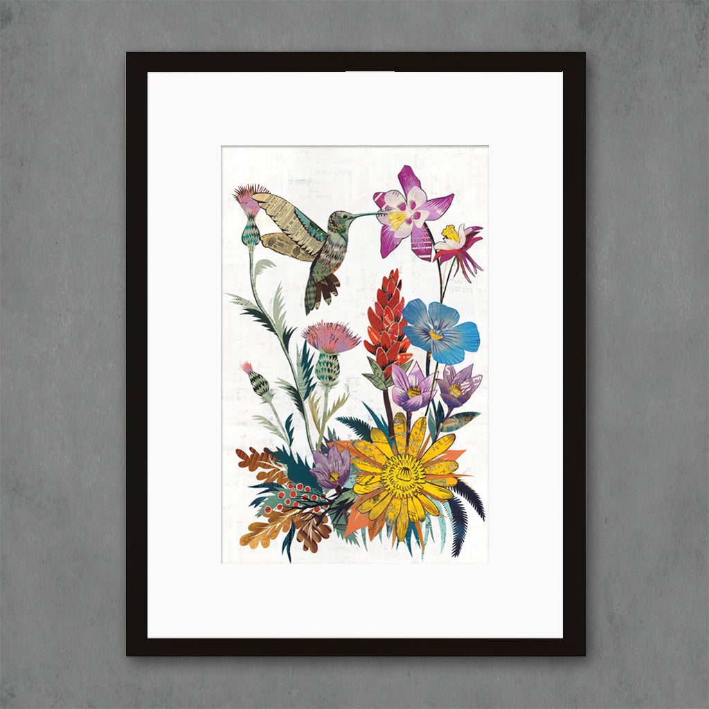 Hummingbird with Wildflowers Art Print