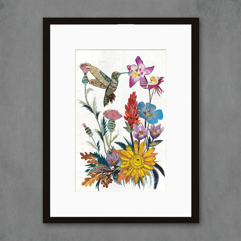 main image for Hummingbird with Wildflowers Art Print