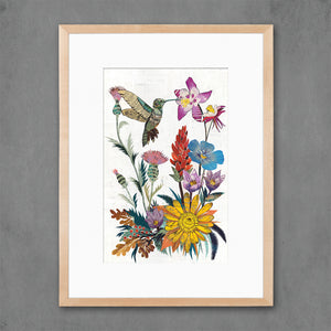 thumbnail for Hummingbird with Wildflowers Art Print