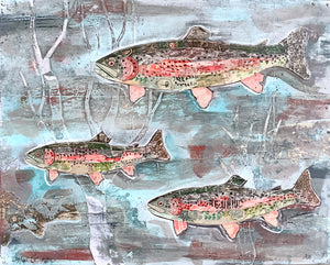 thumbnail for Rainbow Trout Swimming in a Stream Original Paper Collage