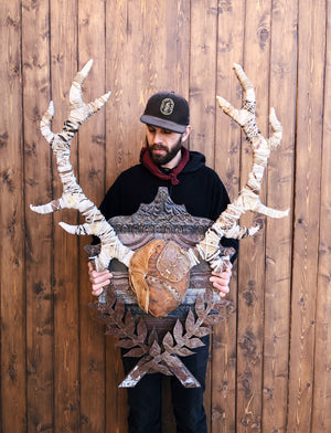 thumbnail for Black Forest Stag Original Faux Taxidermy Antlers Wall Sculpture
