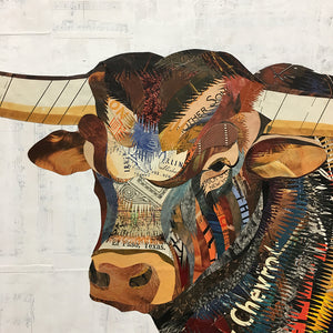 thumbnail for Longhorn in South Texas Field Paper Collage Art