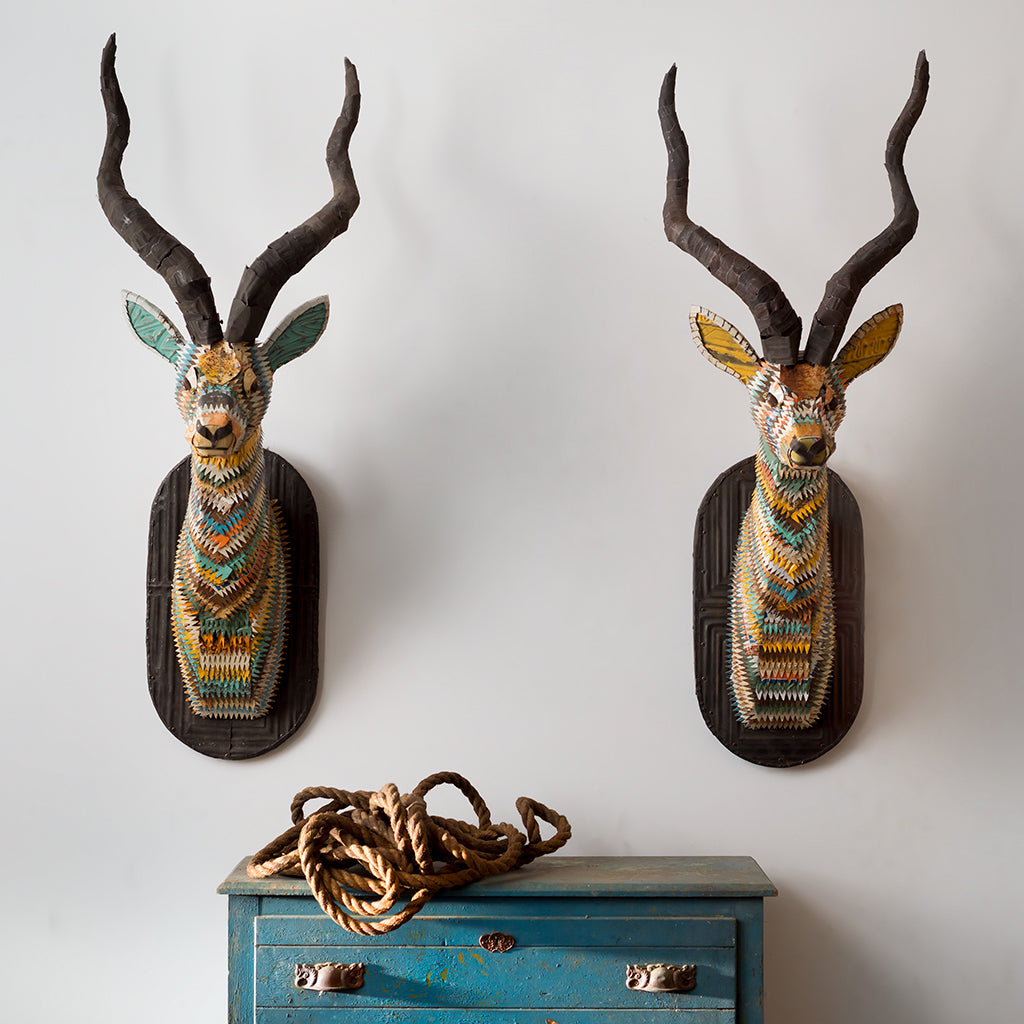 Impala African Antelope Faux Taxidermy Original Metal Wall Sculpture