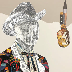 thumbnail for Country Music Done Changed - Cowboy with Guitar Original Paper Collage