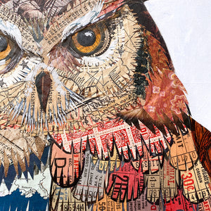 thumbnail for Great Horned Owl on Tree Stump Original Paper Collage