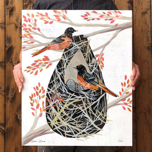 thumbnail for Oriole with Nest Original Paper Collage