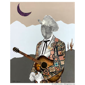 thumbnail for Quilted Wrangler - Cowboy with Acoustic Guitar Original Paper Collage