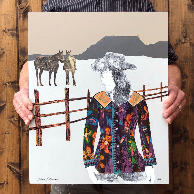 main image for Quilted Wrangler - Cowgirl with Horses Original Paper Collage by Dolan Geiman