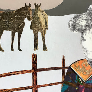 thumbnail for Quilted Wrangler - Cowgirl with Horses Original Paper Collage by Dolan Geiman