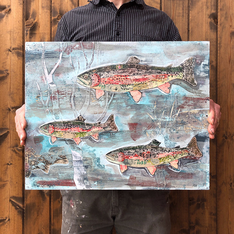 main image for Small Works Event - Rainbow Trout Swimming in a Stream Original Paper Collage