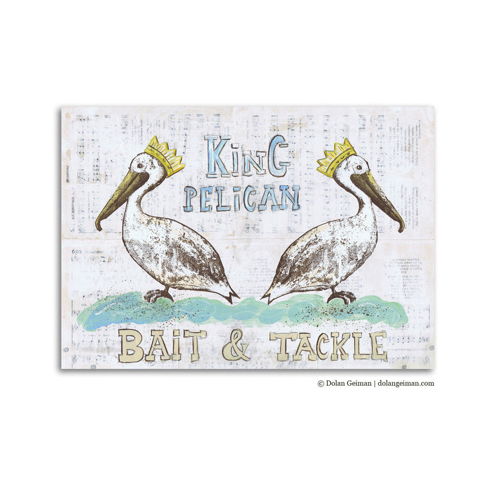King Pelican Bait & Tackle Mixed Media Art