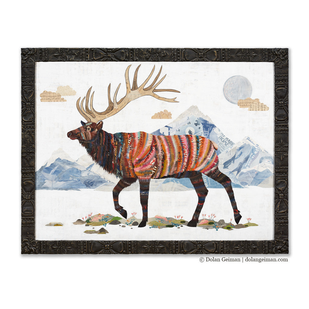 Large Elk Paper Collage King of the Continental Divide