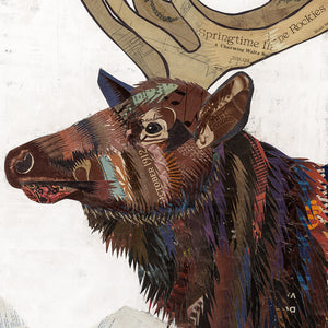 thumbnail for Large Elk Paper Collage King of the Continental Divide