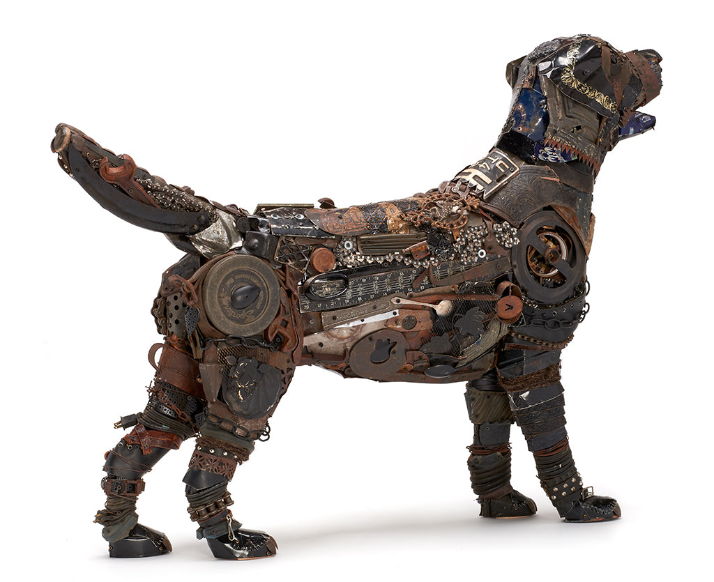 Black Lab Mixed Media Sculpture