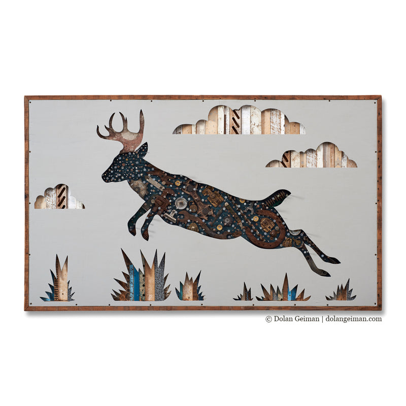 main image for Leaping Deer Original Mixed Media Wall Art