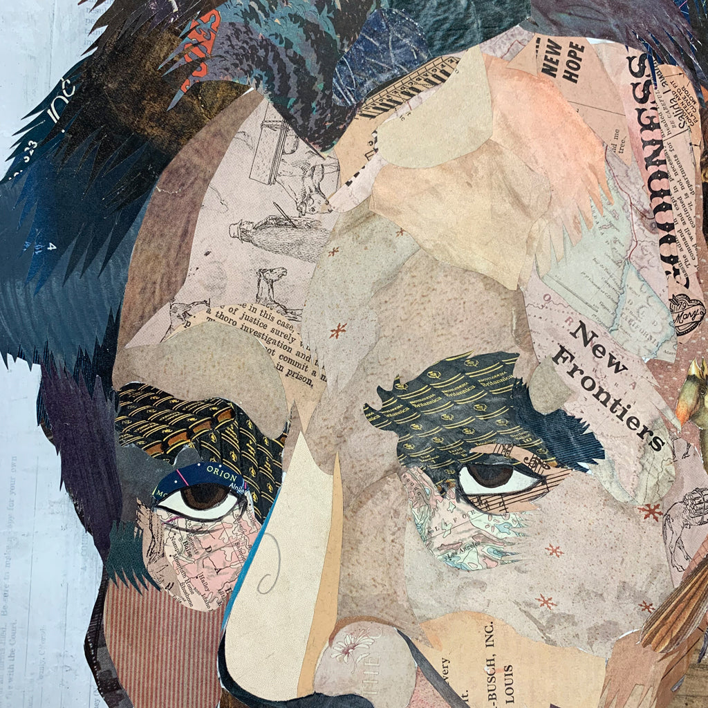 Custom Abe Lincoln Paper Collage with Penny Frame