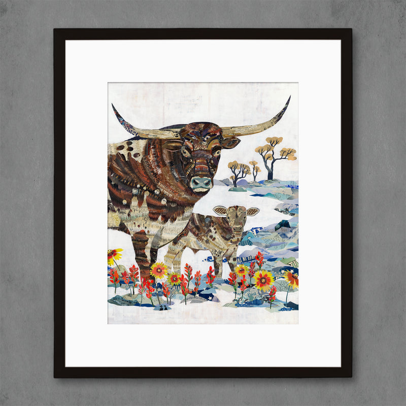 main image for Longhorn with Calf Limited Edition Cattle Art Print