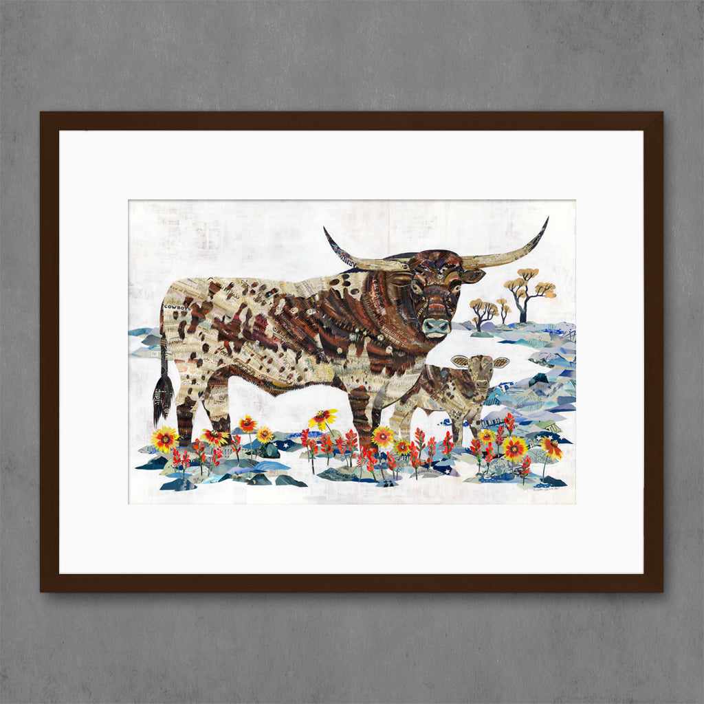 Longhorn with Calf Limited Edition Print