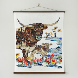 thumbnail for Longhorn with Calf Limited Edition Cattle Art Print