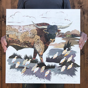 thumbnail for Longhorn with Cattle Egrets Paper Collage - Original by Dolan Geiman
