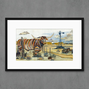 thumbnail for Longhorn with Windmill Art Print
