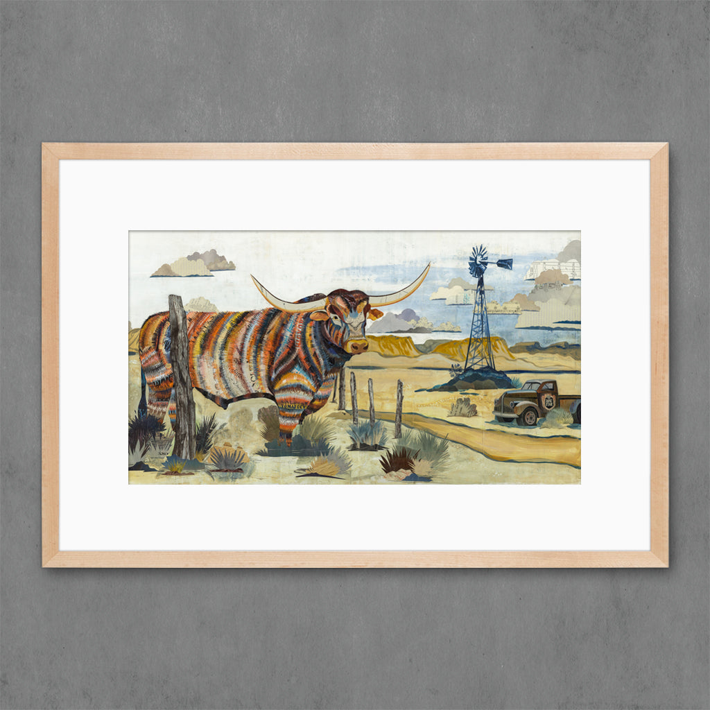 Longhorn with Windmill Art Print