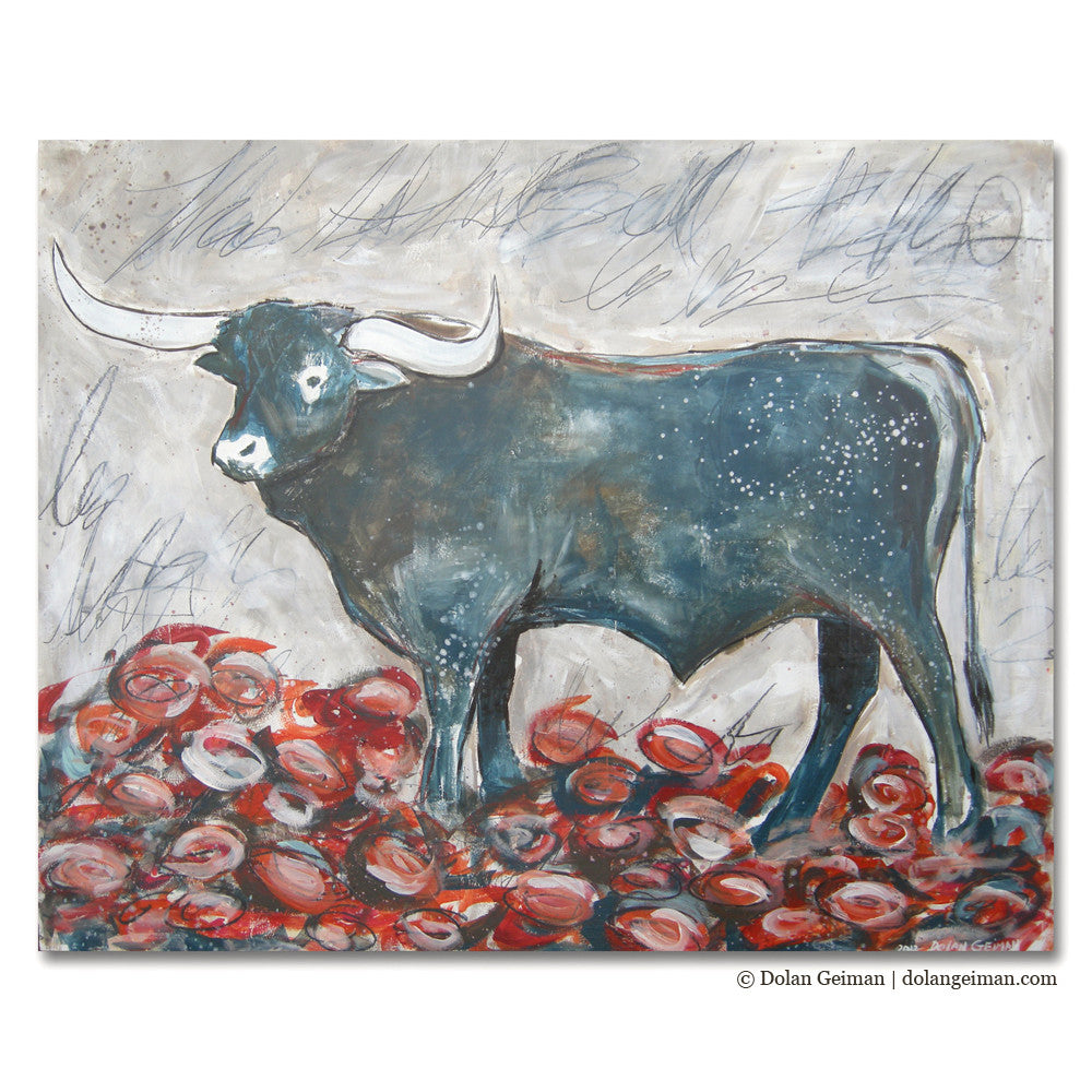 Longhorn in the Roses Painting on Wood