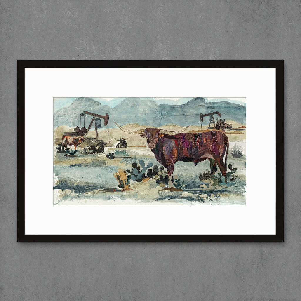 Longhorn, Pumpjack King Art Print