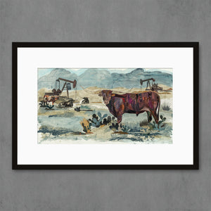 thumbnail for Longhorn, Pumpjack King Art Print