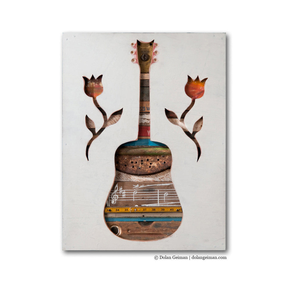 Made in the Shade Americana Mixed Media Guitar Art