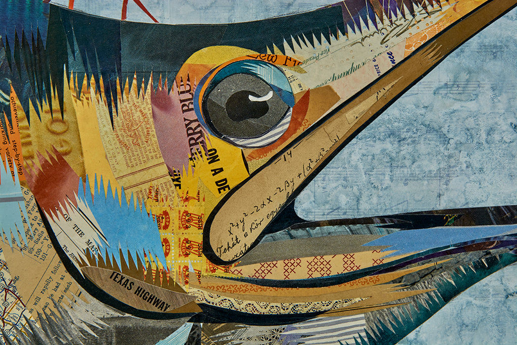 Marlin with Jellyfish Original Paper Collage
