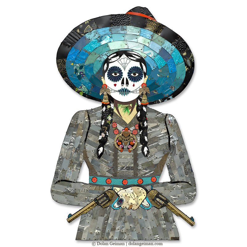 main image for Large-scale Adelita Cowgirl Metal Wall Sculpture