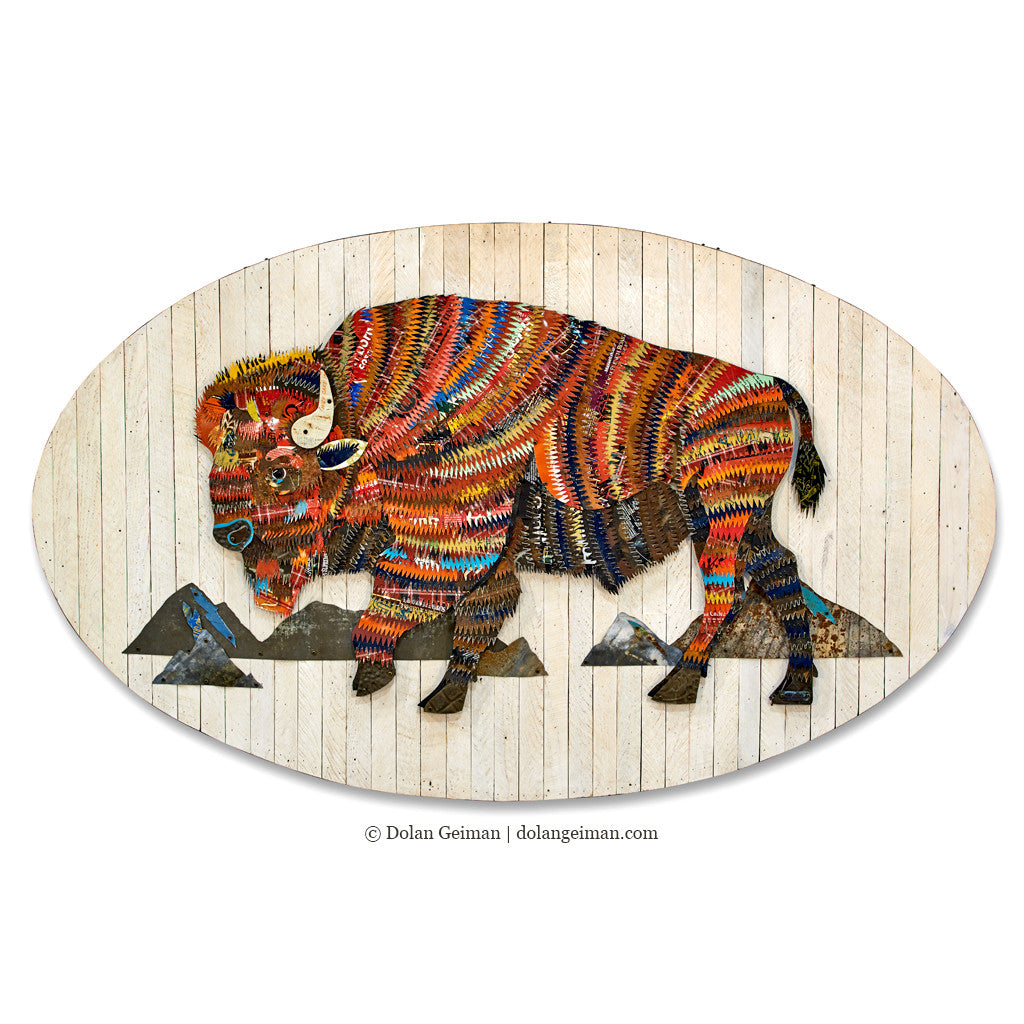 Colorful Bison Metal Wall Sculpture