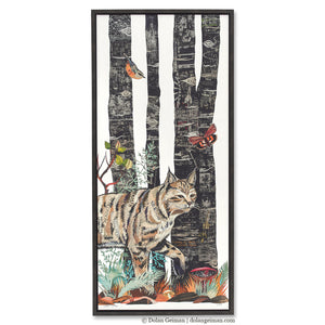 thumbnail for Midnight Forest Bobcat Canvas Art Print with Float Frame