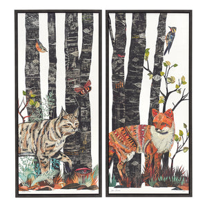 thumbnail for Midnight Forest Fox Canvas Art Print with Float Frame