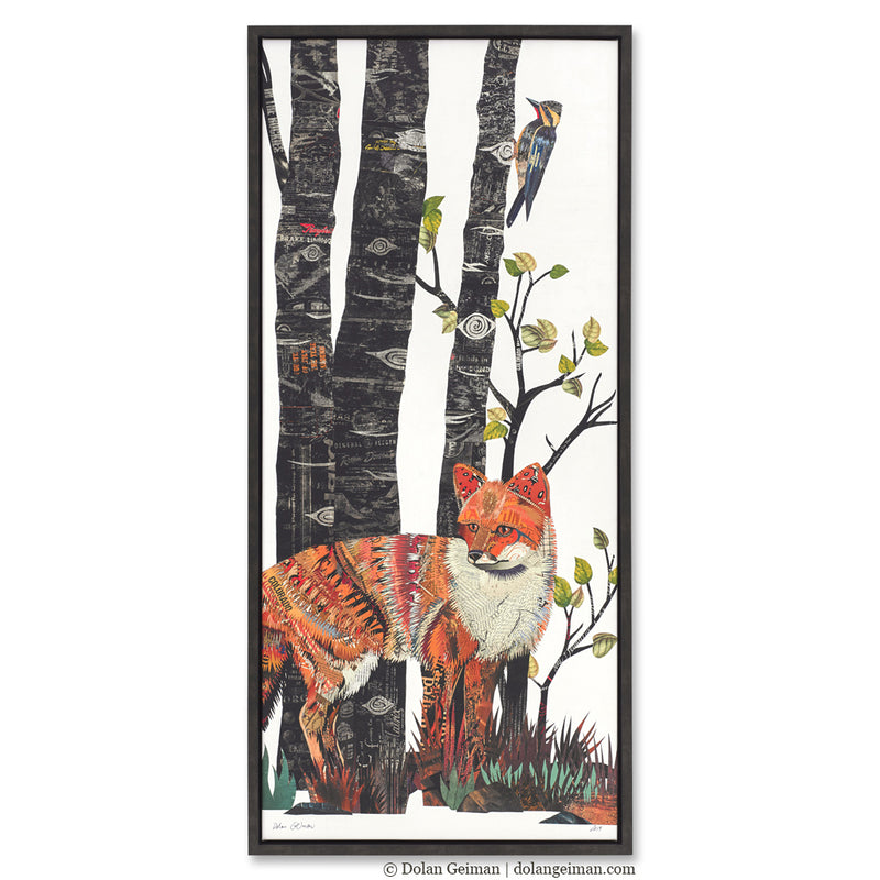 main image for Midnight Forest Fox Canvas Art Print with Float Frame