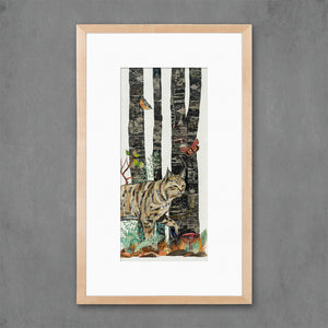 thumbnail for Midnight Forest Bobcat Art Print